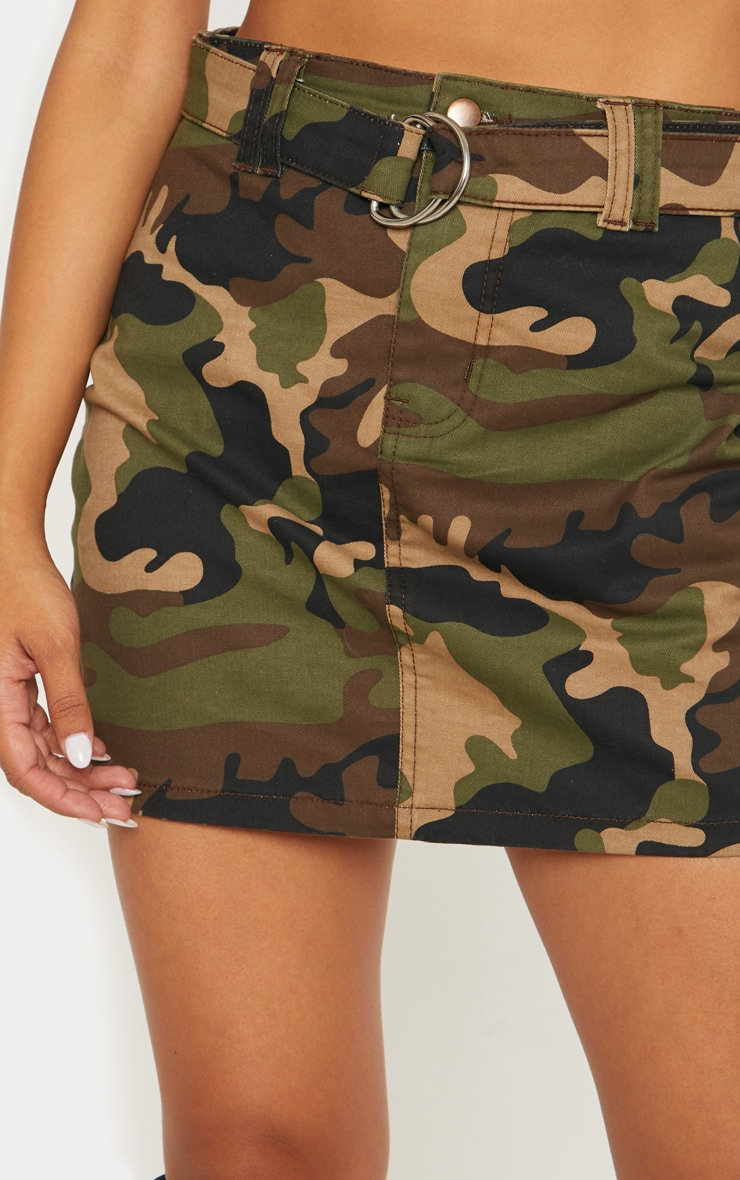 Camo O-Ring Belted Denim Skirt  6