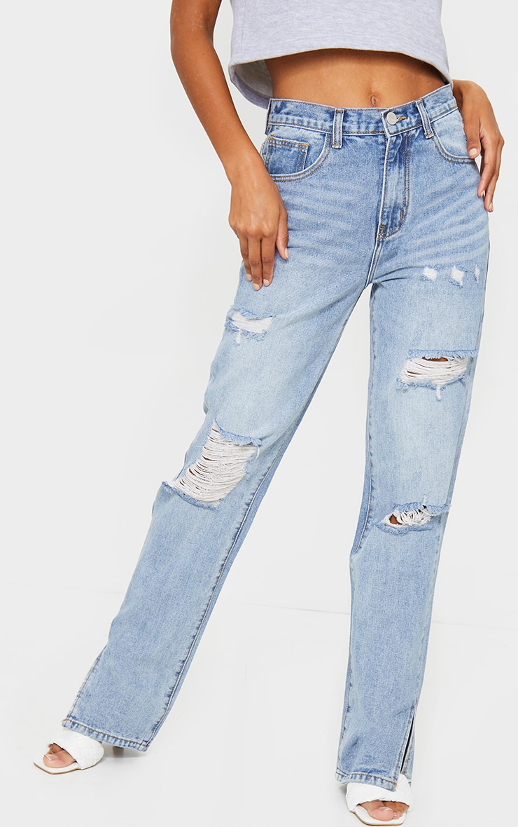 Light Wash Distressed Split Hem Jeans 2