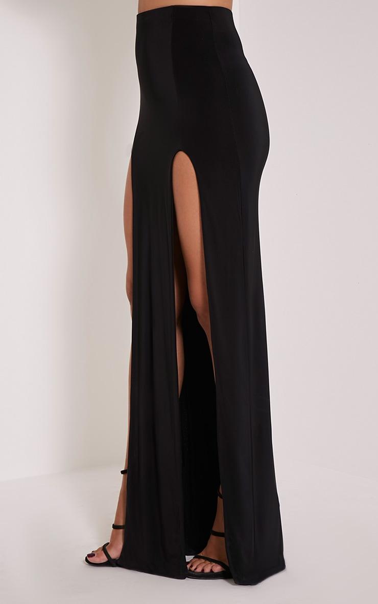 Elaine jupe maxi noire avec double fente 4