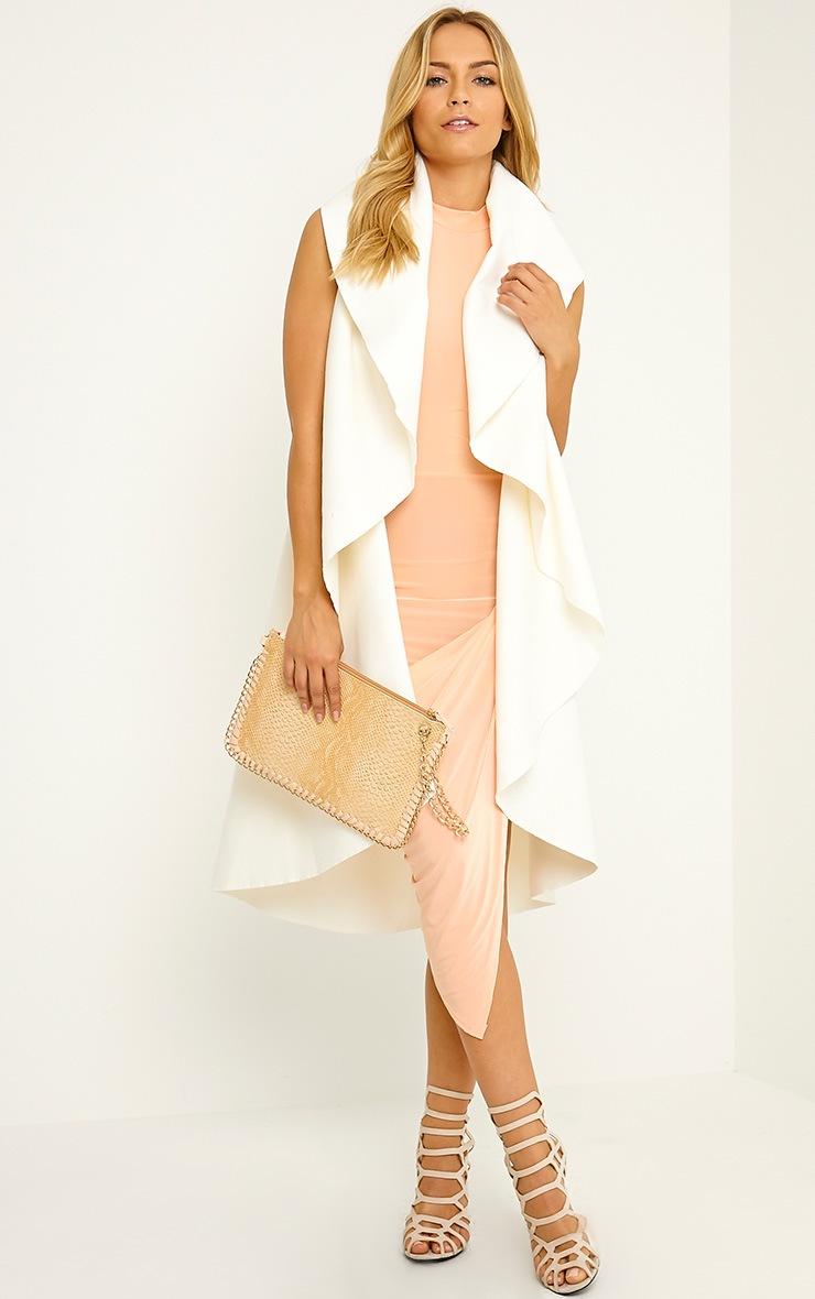 Prim Peach Slinky Drape Asymmetric Dress 3