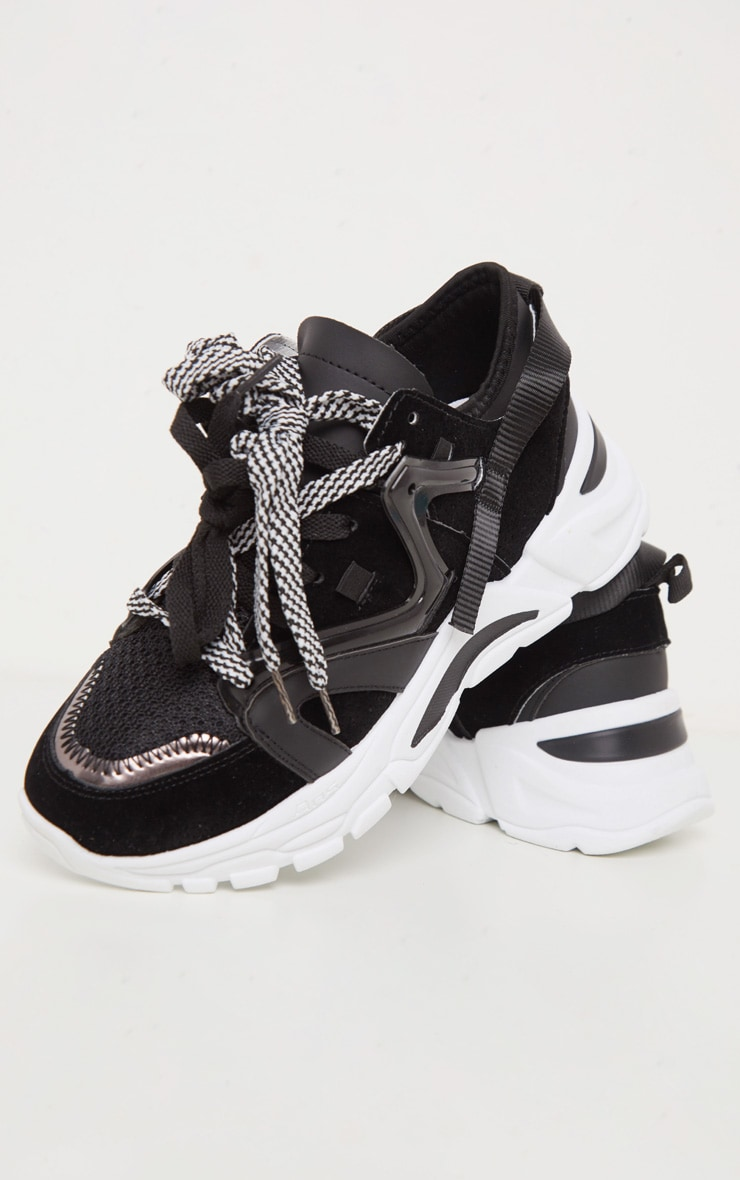 Black Panel Detail Contrast Lace Chunky Sneakers 4