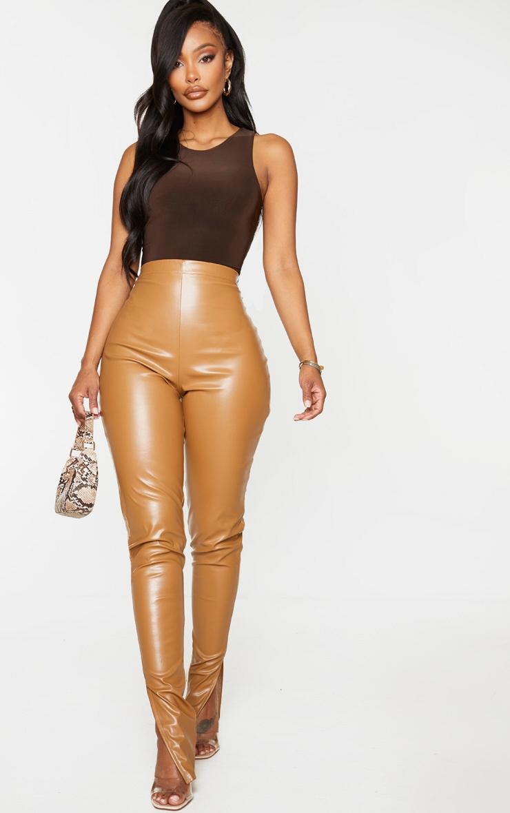 Shape Chocolate Brown Sleeveless Slinky Bodysuit 3