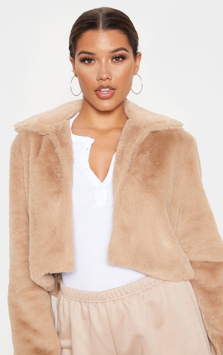 Stone Cropped Faux Fur Coat 6