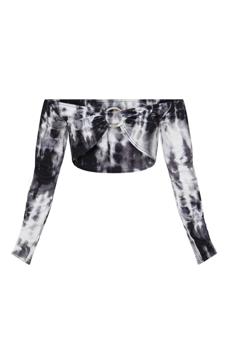 Black Tie Dye O-Ring Detail Bardot Crop Top  3
