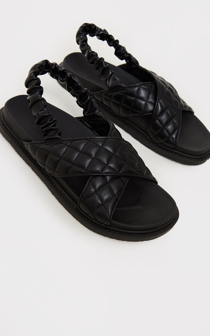 Black Quilted Cross Strap Slingback Chunky Sandals 3