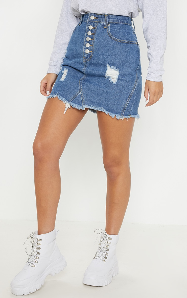 Mid Wash Button Through Distressed Denim Skirt 2