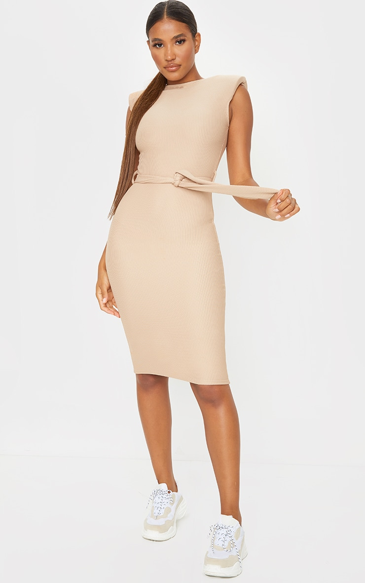 Stone Shoulder Pad Tie Waist Rib Midi Dress