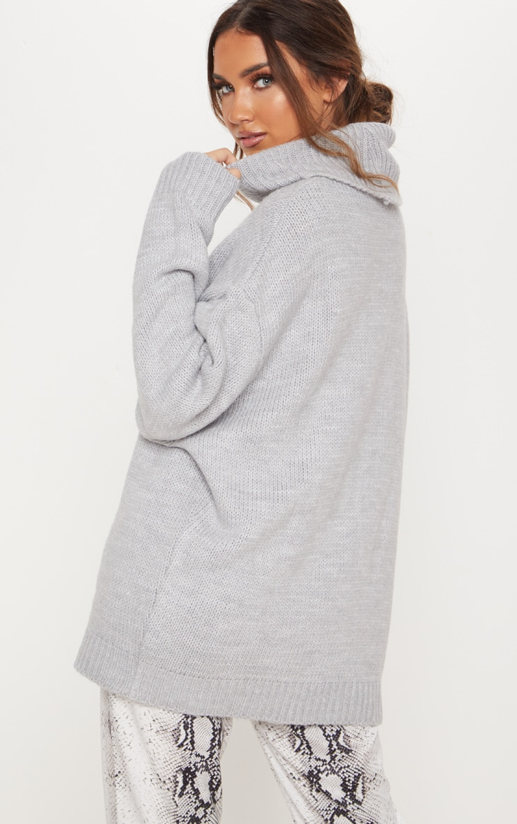 Grey High Neck Fluffy Knit Sweater  2