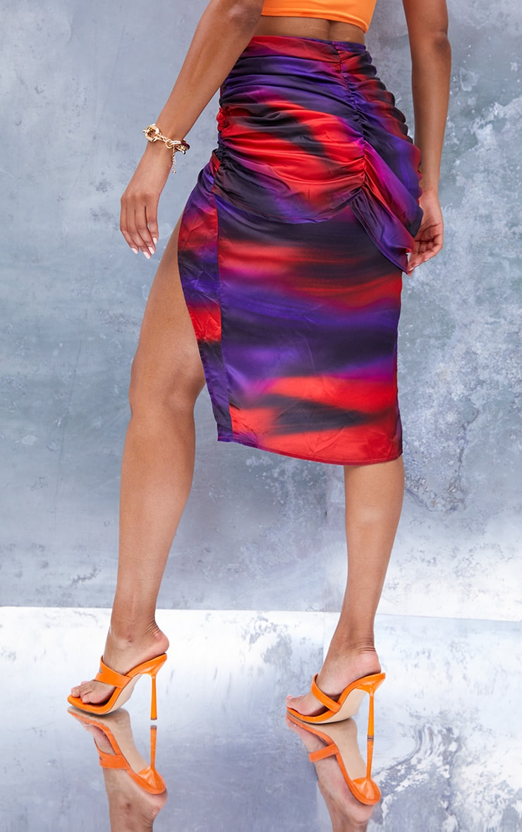 Purple Abstract Printed Satin Ruched Side Midi Skirt 3