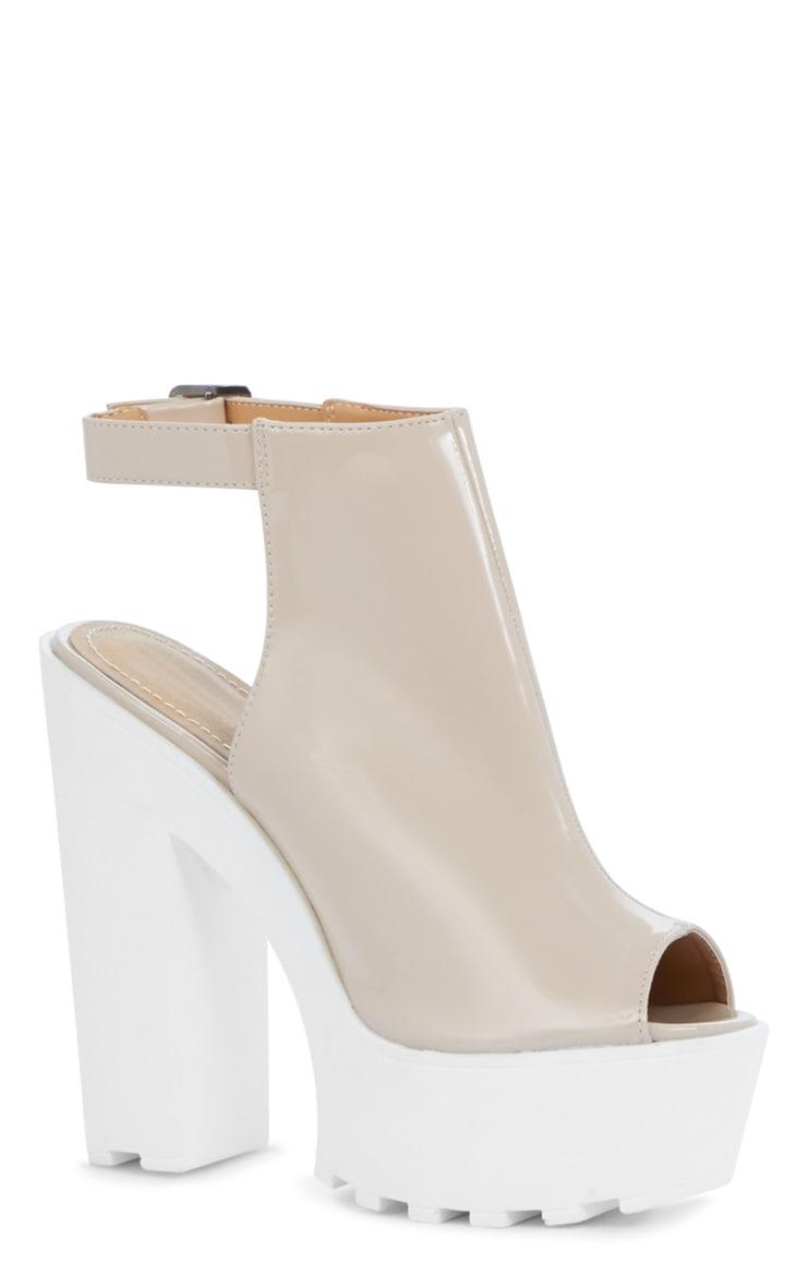 Jessica Patent Nude Strap Platform Heels 2