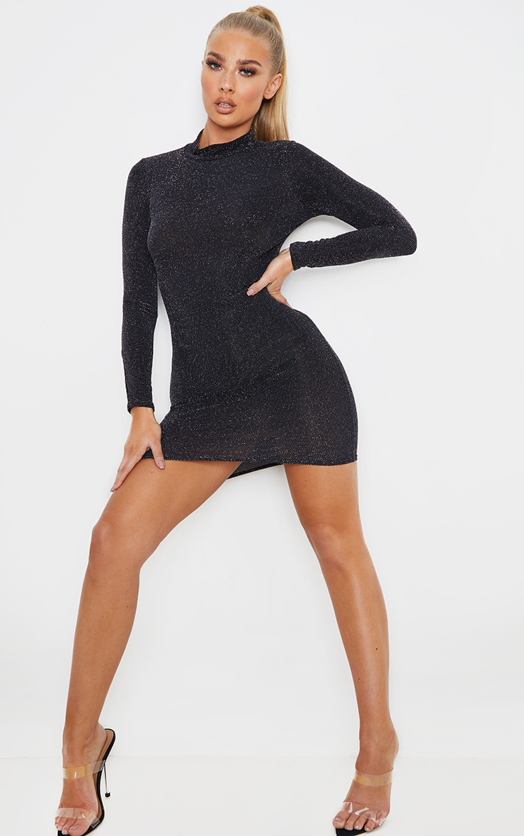 Silver Glitter High Neck Long Sleeve Cut Out Back Bodycon Dress 5