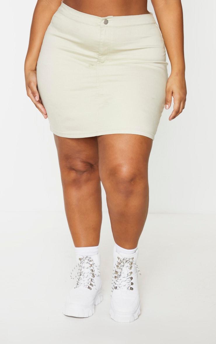 PLT Plus - Jupe en jean disco ajustée gris pierre 2