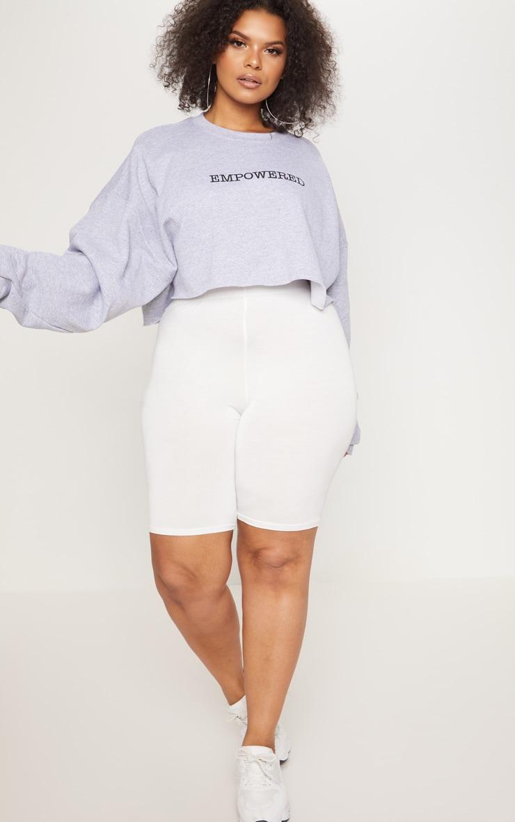 Plus Grey EMPOWERED Cropped Slogan Sweater 3