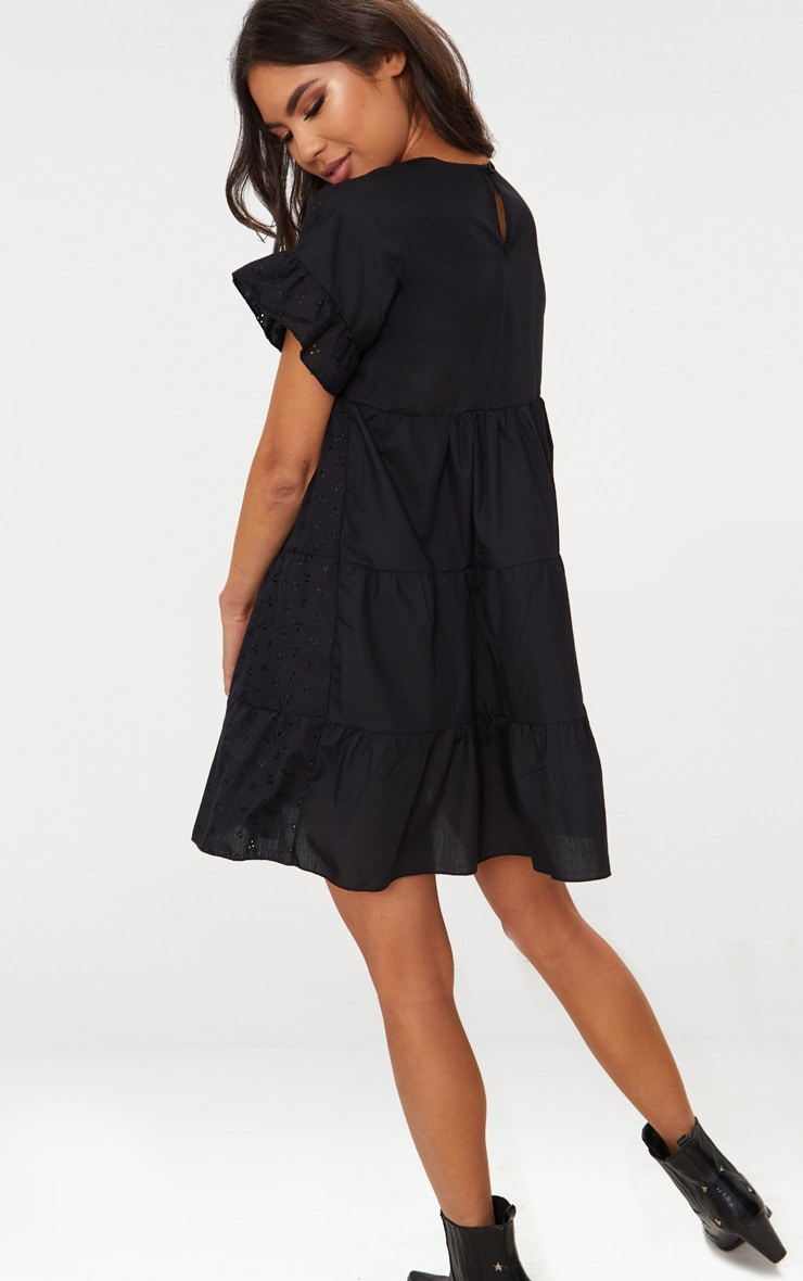 Black Broderie Anglaise Smock Dress 2