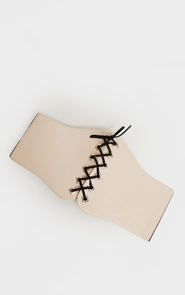 Cream PU Lace Up Corset Belt 2