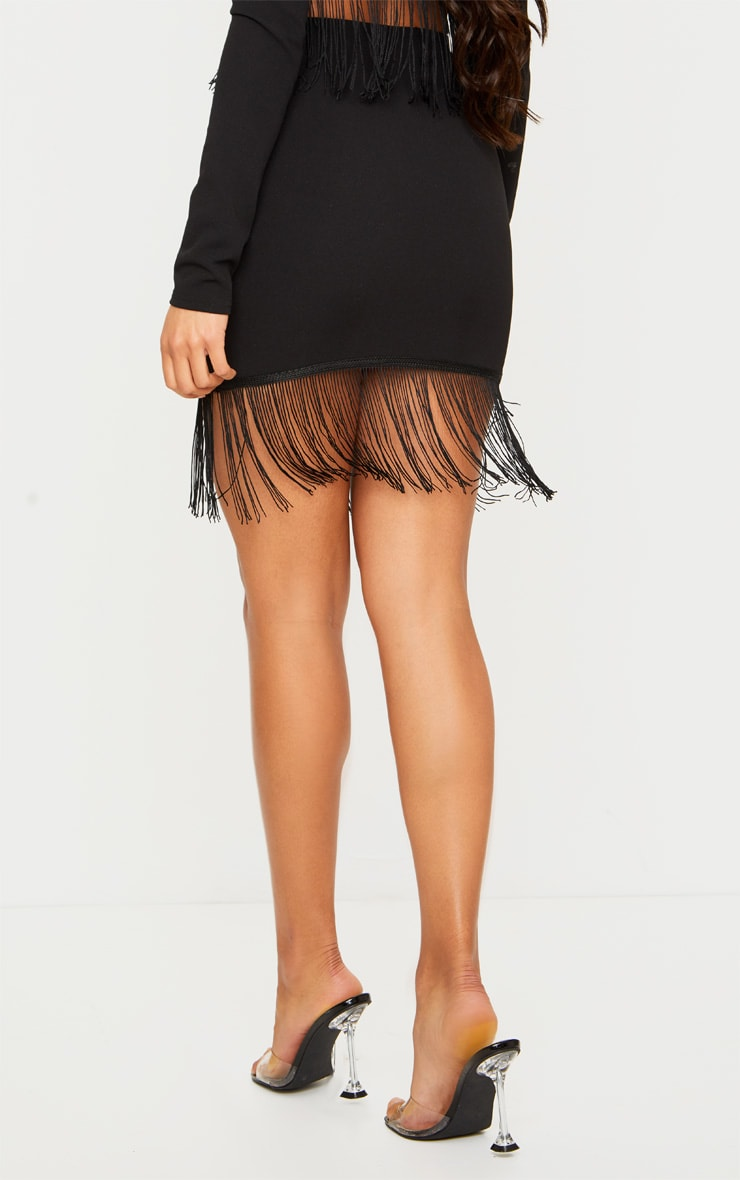 Black Fringe Edge Mini Skirt 3