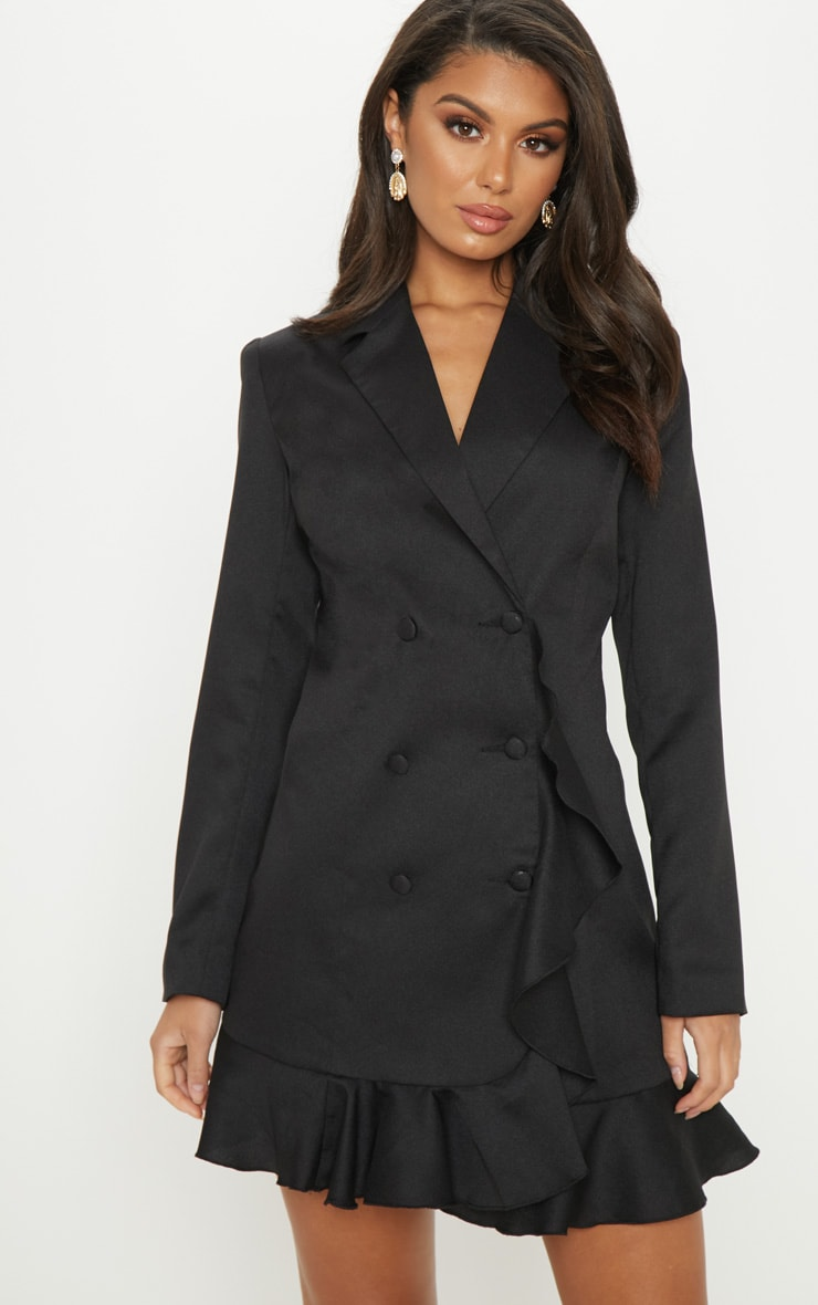 Black Frill Detail Blazer Dress 1
