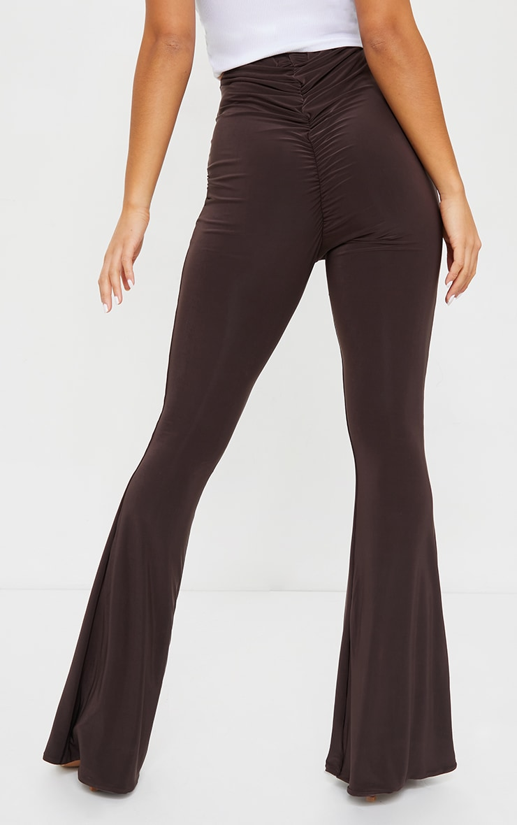 Petite Chocolate Flare Ruched Bum Slinky Pants 3