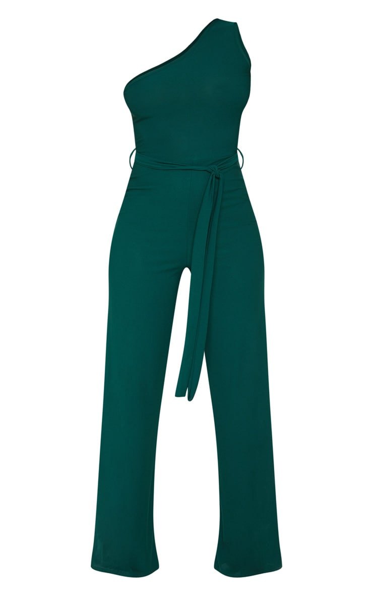 Emerald Green One Shoulder Tie Waist Jumpsuit 3