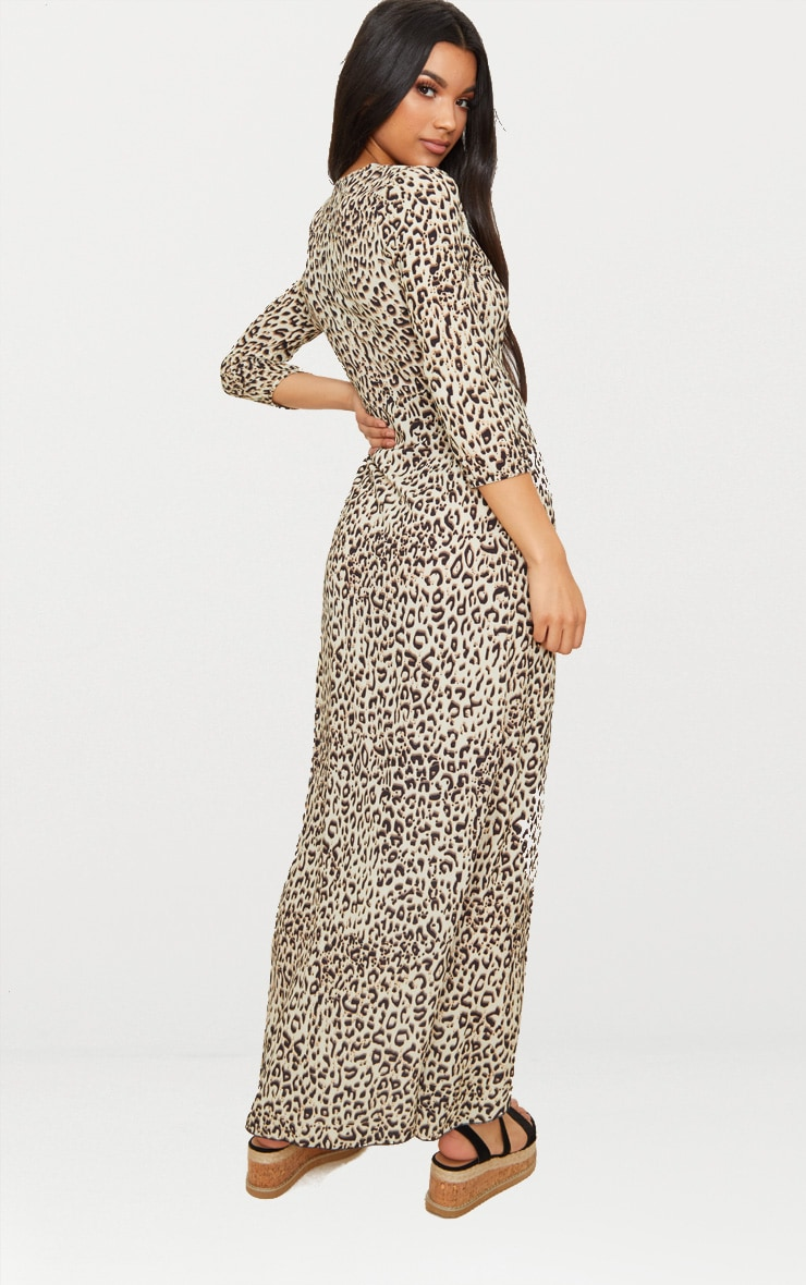 Leopard Print Wrap Front Maxi Dress 2
