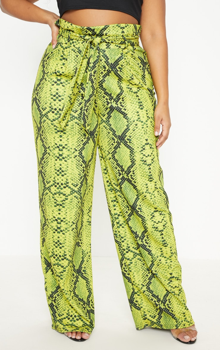 Plus Neon Yellow Snake Print Paperbag Tie Waist Wide Leg Pants  2