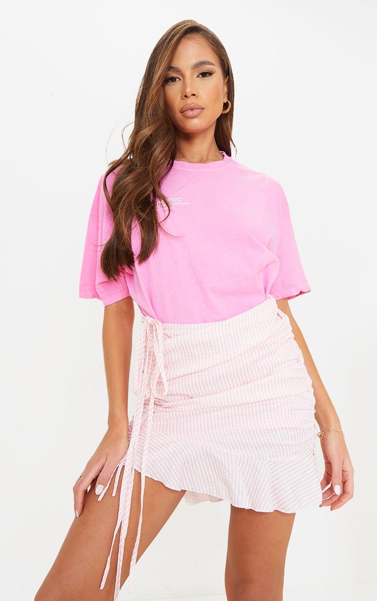 Mini-jupe froncée rose imprimé vichy en maille tissée 4