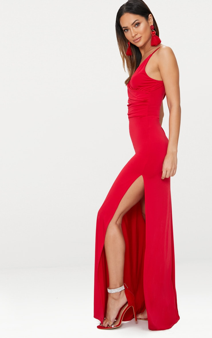 Red Strappy Plunge Slinky Maxi Dress 4
