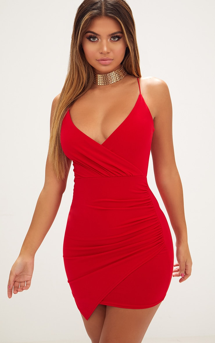 Red Slinky Wrap Strappy Bodycon Dress 1