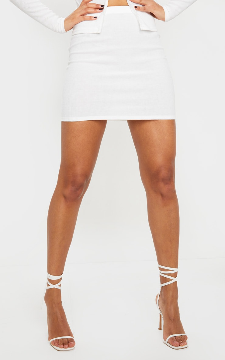 Cream Soft Brushed Rib Mini Skirt 3