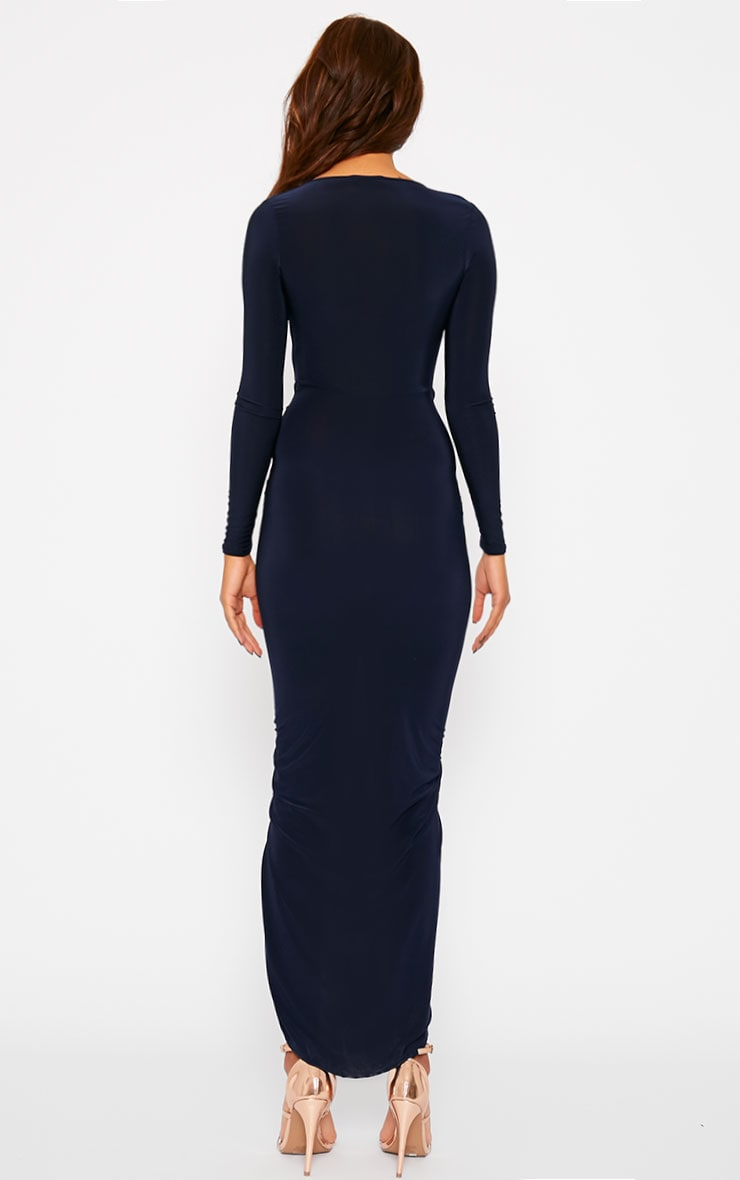 Ellie Navy Slinky Ruched Maxi Dress 2