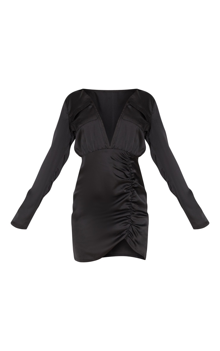 Petite Black Satin Pocket Detail Ruched Shirt Dress 3