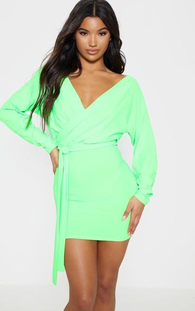 d775ce2066b1 Neon Lime Plunge Off Shoulder Tie Front Bodycon Dress
