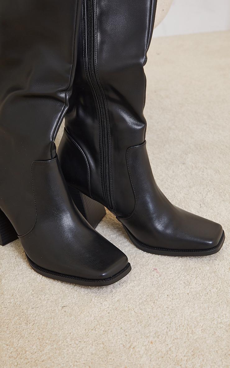 Black Square Toe Flare Block Heel Knee High Boots 3