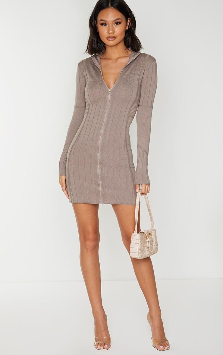 Mocha Ribbed Zipped Kniited Mini Dress 3