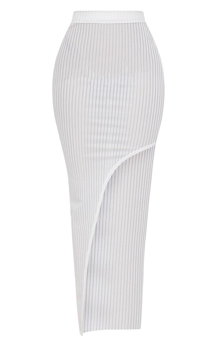 Shape White Striped Velvet Asymmetric Midi Skirt 3