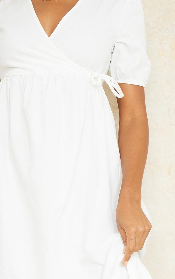 White Woven Wrap Tie Detail Puff Sleeve Smock Midi Dress 4