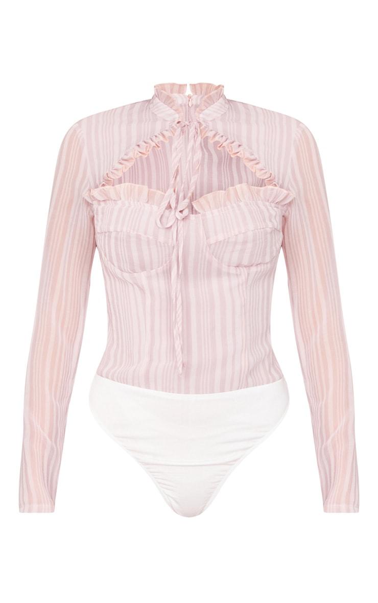 Pink Stripe Woven Cut Out High Neck Bodysuit 5