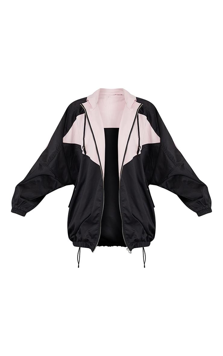 Pink Colour Block Panel Drop Arm Zip Through Jacket 5