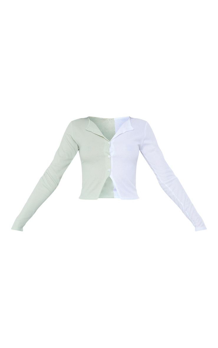 Sage Khaki Rib Button Front Spliced Long Sleeve Top 5