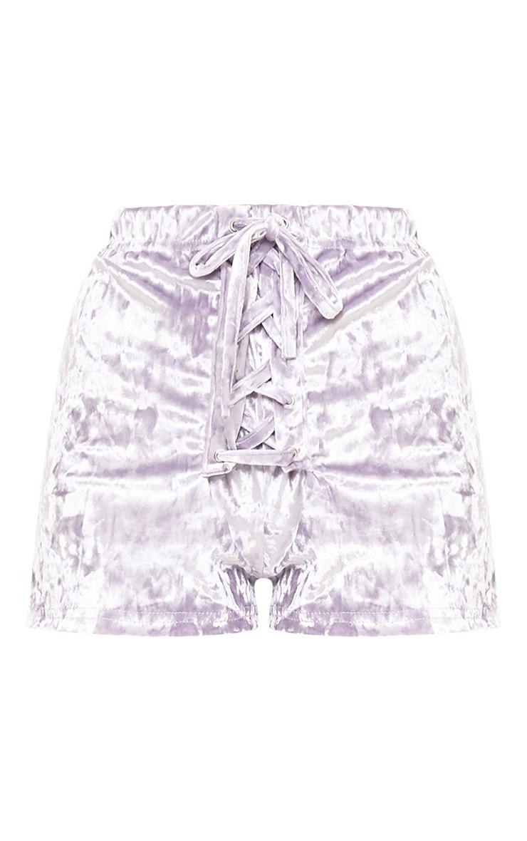 Aletia Lilac Velvet Lace Up Shorts  3