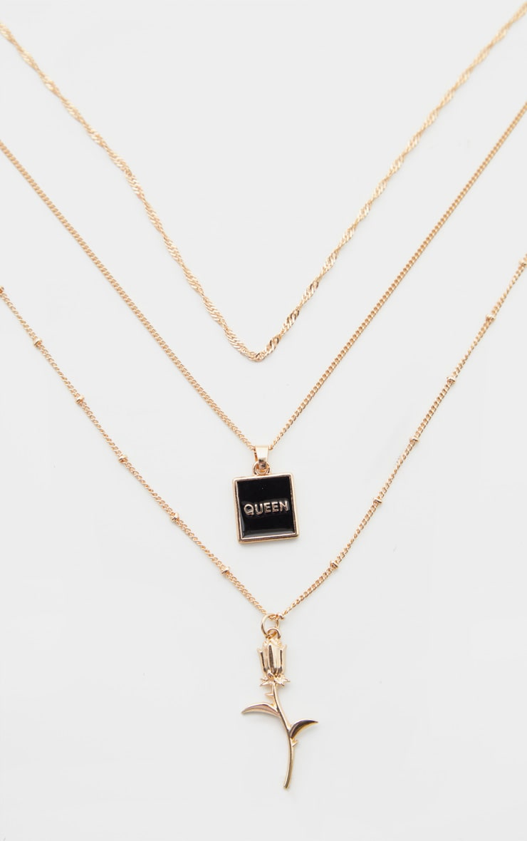 Gold Rose And Queen Triple Chain Layering Necklace   3