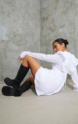 Black Knee High Rubberised Boots 2
