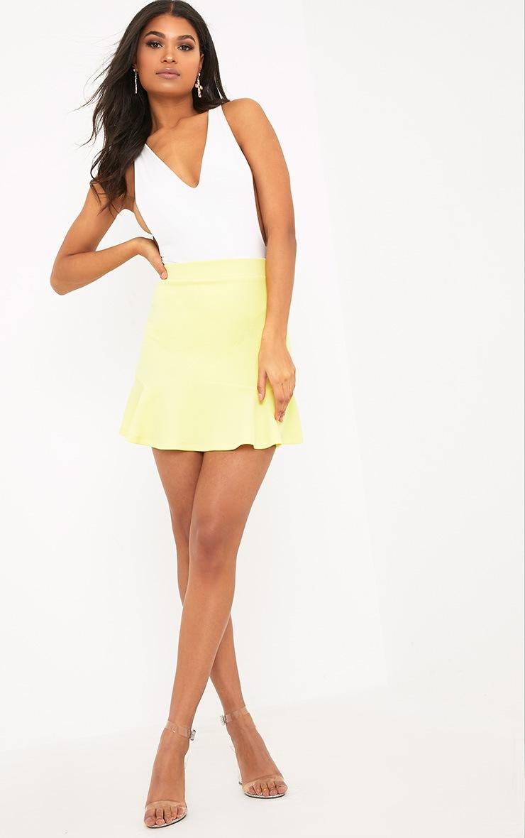 Verity Lemon Textured Flippy Hem Mini Skirt 5