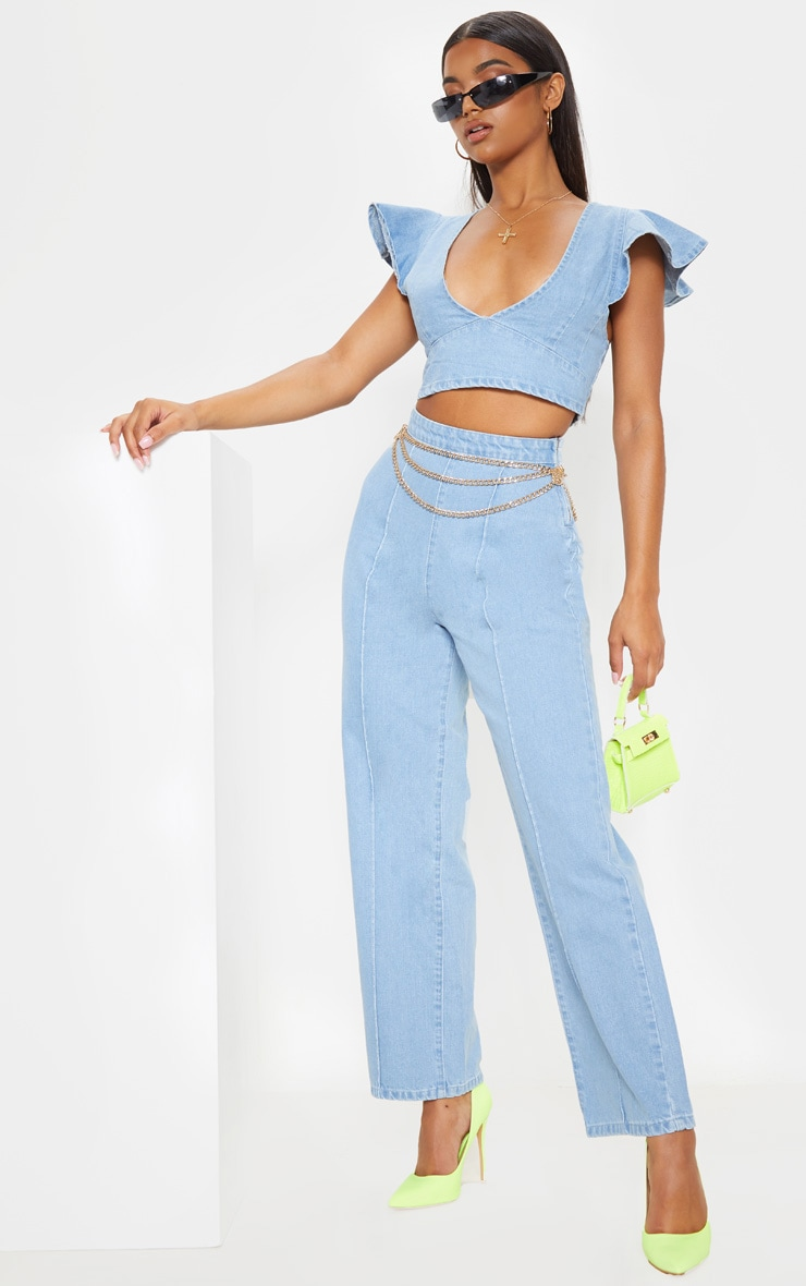 Light Blue Wash Wide Leg Jeans 1
