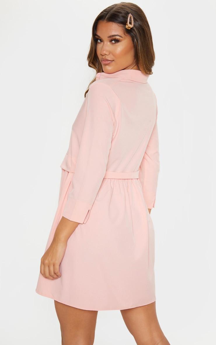 Robe chemise rose à effet superposé 2