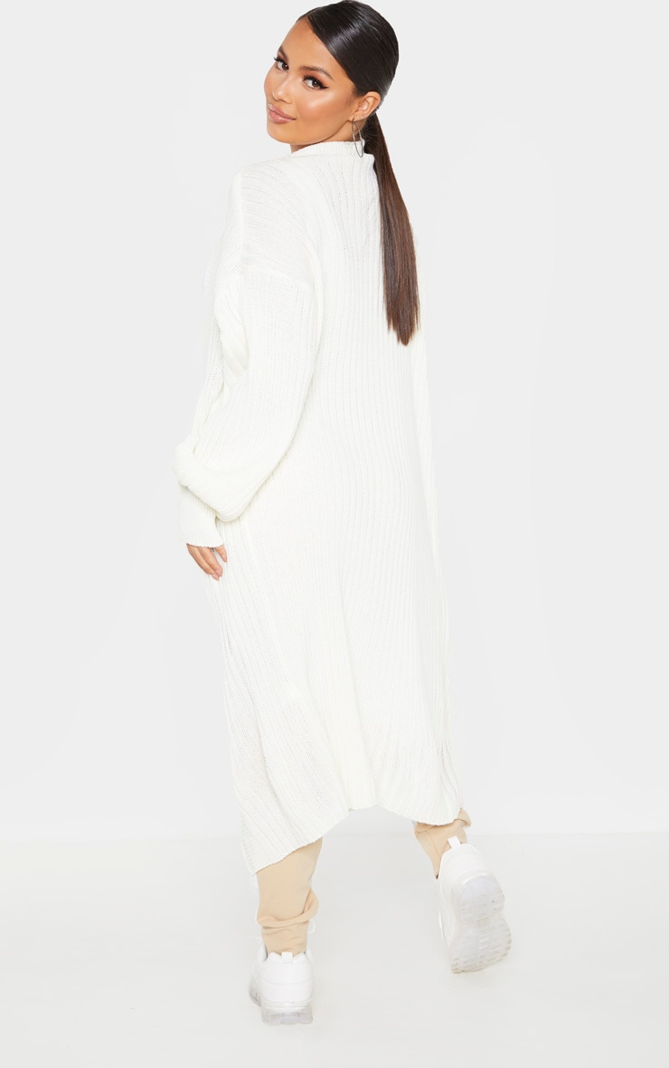 Petite Cream Ribbed Knitted Cardigan 2