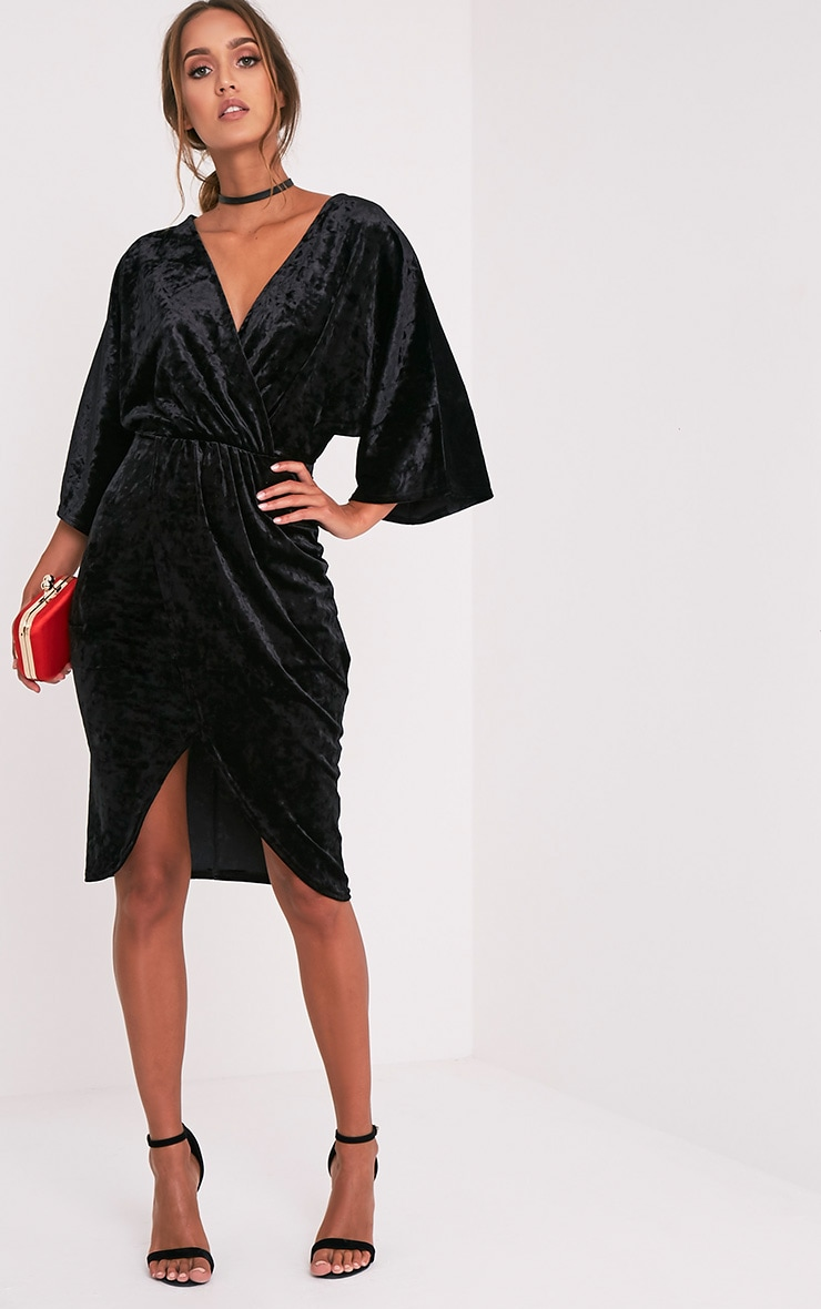 Archer Black Velvet Cape Midi Dress 1