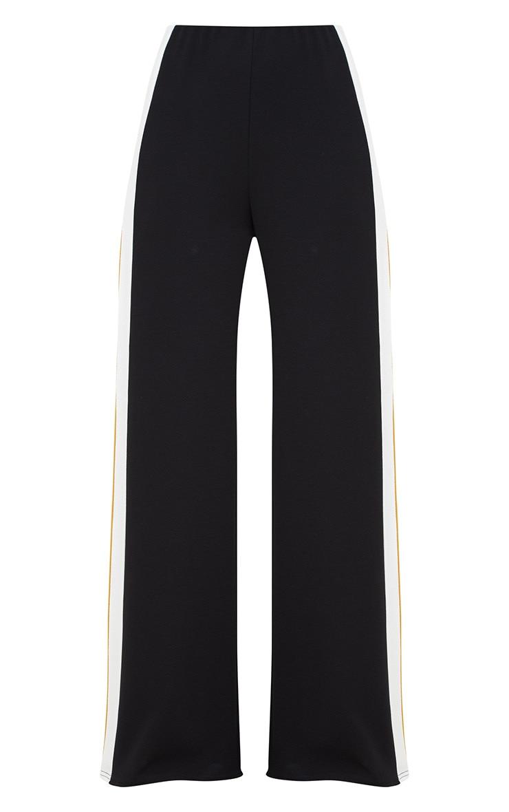 Black Contrast Stripe Wide Leg Trousers 3