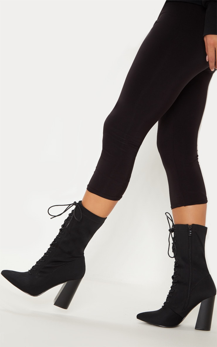 Black Block Heel Lace Up Lycra Sock Boot 2