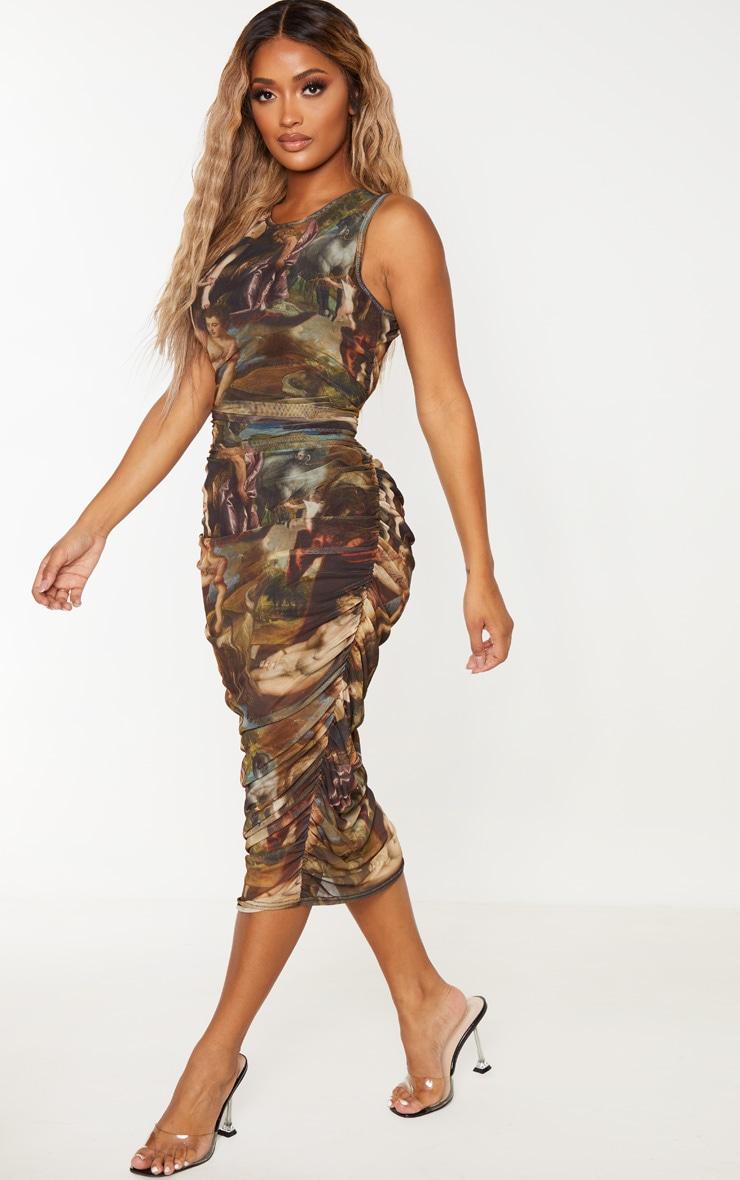 Shape - Robe mi-longue sans manches à imprimé renaissance multicolore 4